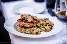 Chicken Veneziana with Green Pea Risotto, Mushrooms, and White Wine Photo by Red Sphere Studios