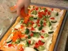 Easy Crescent Veggie Pizza recipe from Pillsbury.com. make this but only use ranch seasoning in cream cheese instead of dill, and only shredded carrots and tiny chunks of broccoli. comes out amazing