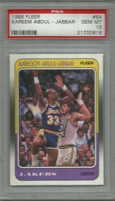 1988 88-89 Fleer Kareem Abdul-Jabbar #64 PSA 10 Gem Mint LA Lakers Set Break