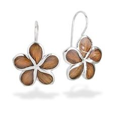 Sterling Silver Plumeria Hook Earrings with Koa Wood* Inlay - New From Na Hoku - #jewelry #flower