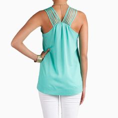 Sheer Strappy Top in Seafoam by Naked Zebra - Daily Look Mar 29, 2012