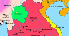 Map of Khmer Kingdom Until 802 the Khmers were organized into a number of warring independent kingdoms. They often fought among themselv. Vientiane, World History, Cambodia, Culture, Map, Location Map, Maps, History Of The World
