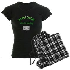 Do Not Disturb Watching NCIS Womens Dark Pajamas Funny Womens Dark Pajamas by CafePress - L With Checker Pant