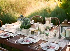 rustic garden wedding table setting - hoping this could work indoors