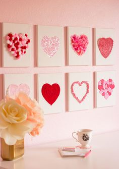 Raid your craft supplies to make this heart art for Valentine's Day or year-roun. Raid your craft supplies to make this heart art for Valentine's Day or year-round! Valentines Day Decorations, Valentines Day Party, Valentine Day Crafts, Love Valentines, Holiday Crafts, Ideas For Valentines Day, Heart Decorations, Kids Crafts, Diy And Crafts