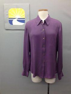 NWT ALFANI Violet/Purple Long Sleeve  Button-Down Shirt/Blouse Sz. 12 US  Starting Bid... Only $10.99 (>_<)