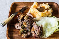 // Jamie Oliver's Roasted Shoulder of Lamb with Smashed Veg & Greens