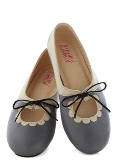 Reason to Smile Flat - Low, Leather, Grey, Tan / Cream, Solid, Casual, Darling, Best, Scallops ModCloth
