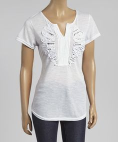 White Embellished Notch Neck Tee by Simply Irresistible #zulily #zulilyfinds