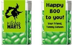 CUTE HALLOWEEN PARTY FAVORS! Halloween WITCHES WARTS Tic Tac Mints Party Favors Personalized Candy Labels - Fun Halloween party idea or to hand out to trick or treaters!