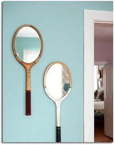 1 raquette ancienne + 1 miroir = un miroir original
