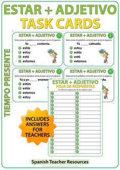 ESTAR + Adjetivo - Spanish Task Cards to practice the correct conjugation of the verb ESTAR with Adjectives