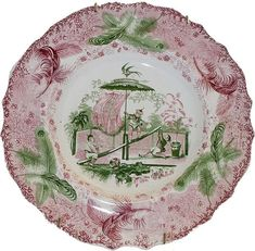 """No 107""  Plate,  9 inches.  As there is no other name, the pattern is known by the number printed with the name of the factory,  Enoch Wood & Sons (1818-1846.)  Although the pattern looks oriental, it is actually a romanticized version of an oriental pattern, and thus is found in Romantic Themes/Oriental in the database"