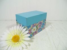 Terrific Turquoise & Pretty Purple Floral Litho Metal Recipe 5 x 3 Index File Box - Vintage Ohio Art Co Mid Century 3x5 File Organizer Case $9.00 by DivineOrders