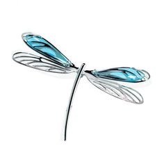 #Lalique Libellule #Dragonfly #Design Cyan Crystal #Brooch Made from sterling silver and features a beautiful dragonfly design with finely made wings with cyan crystal.