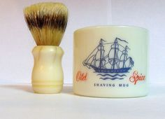 Anyone still own one of these vintage Old Spice Shaving Mugs? They used to be around in my Dad's time. My Childhood Memories, Sweet Memories, School Memories, 1970s Childhood, School Days, School Stuff, Retro, Old Spice, Oldies But Goodies
