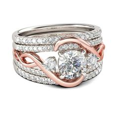 Buy Jeulia Interchangeable Two Tone Halo Round Cut Sterling Silver Ring Set online. Jeulia offers premium quality jewelry at affordable price, shop now! Bridesmaid Jewelry Sets, Bridal Jewelry Sets, Bridal Sets, Wedding Jewelry, Silver Rings Online, Couple Jewelry, Womens Wedding Bands, Antique Engagement Rings, Sterling Silver Rings