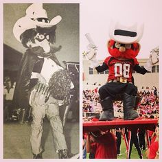 """Raider Red Transformation/ Saddle Tramp Jim Gaspard came up with the idea of Raider Red and """"made"""" the first costume!  Jim designed and made Raider Red in 1971 when the SWC made a rule not allowing live mascots to travel to games; now Disney makes the costumes for several universities."""
