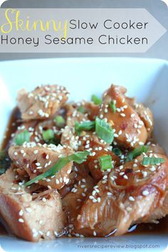 Skinny Slow Cooker Honey Sesame Chicken on MyRecipeMagic.com