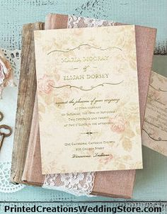 this vintage wedding invitation wrapped up in vintage has an