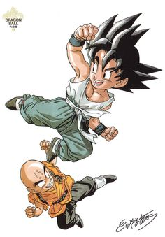 Krillin and Goku Goku Y Vegeta, Kid Goku, Dragon Ball Z, Manga Art, Manga Anime, Chibi, Dragon Quest, Z Arts, Demon Slayer