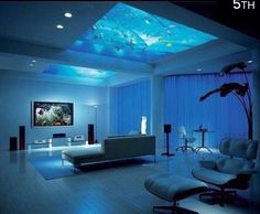 Fish aquarium in the ceiling/ interior design