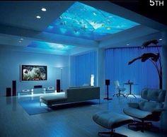 Fish aquarium in the ceiling/ interior design