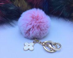 New! Summer Collection Light Pink Frost fur pom pom keychain bag charm flower clover keyring