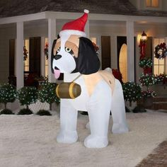 St Bernard Christmas Inflatable.  One big loveable St Bernard ready to celebrate Christmas with you....large Airblown that stands 9 feet tall!