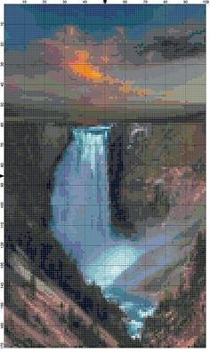 Cross Stitch Pattern Yellowstone National Park Waterfall Outdoor Nature Scenery Cross Stitch Design Chart PDF File Instant Download by theelegantstitchery on Etsy