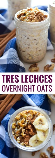 These Mexican Tres Leches Overnight Oats topped with walnuts, bananas and cinnamon are guaranteed to sweeten your mornings. via (vegetarian snacks overnight oats) Overnight Oatmeal, Quaker Overnight Oats Recipe, Overnite Oats, Overnight Breakfast, Cooking Recipes, Healthy Recipes, Healthy Breakfasts, Freezer Recipes, Freezer Cooking
