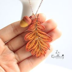 OOAK Handmade Paper Quiling Jewelry Autumn Oak Leaf por LeQuillery