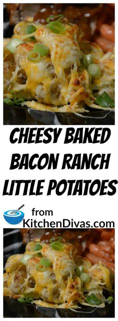 We love potatoes around here.  Cheesy Baked Bacon Ranch Little Potatoes are awesome.  How could they not be?  Ranch dressing, garlic, bacon and lots of cheese.  A perfect combination.  With or without the bacon.   Yummy!  #potato #bacon #ranch #cheese #recipe #food #foodidea