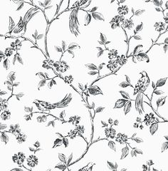 FINE DECOR BLACK AND WHITE FLOWER AND BIRDS MOTIF WALLPAPER FD40289