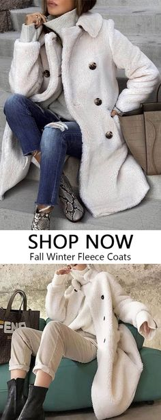White Fleece Coats Chic comfortable coats for women, there are most suitable for fall and winter wardrobe, woolen coat Mode Mantel, Winter Mode, Fall Winter, Women's Winter Coats, Autumn, Coat Sale, Plus Size Coats, Winter Wardrobe, Coats For Women