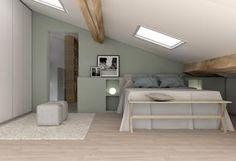 Héritage familial - Marion Lanoë, Architecte d'intérieur. Belle couleur vert amande reposante et tête de lit
