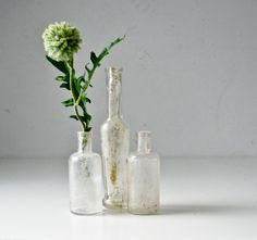 3 Vintage  Glass Bottles. $28.00, via Etsy.