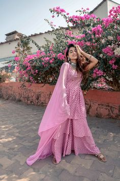 Woven/Knitted: Woven Body Fabric: Cotton Fit: Fit at the bust and waist Primary Color: Pink Care Instructions: Dry clean Kurta Sharara- Sharara Suit, Salwar Suits, Dress Fashion, Fashion Outfits, Online Collections, Kurtis, Anarkali, Indian Wear, Traditional Outfits