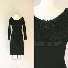 1950's cocktail dress / vintage 50's black Minx Modes dress / Embroidered Lace