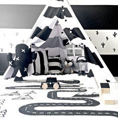 Monochrome playroom designed by Tiny Little Pads! #tinylittlepads @tinylittlepads www.tinylittlepads.com