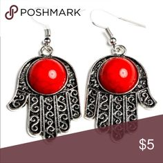 Boho earrings Peace Red earrings in antique silver And red simulated turquoise stone Jewelry Earrings