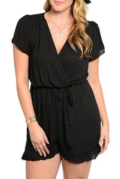 Plus Size Trendy Sheer Chiffon Wrap Front Shorts Romper with Sash