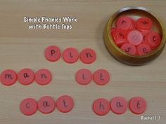 "Simple phonics with bottle tops from Rachel ("",)"