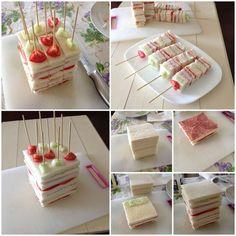 Idea originale per un antipasto o da mettere in un. Snacks Für Party, Party Treats, Appetizer Recipes, Appetizers, Antipasto, Party Buffet, Tea Sandwiches, Food Decoration, Food Platters