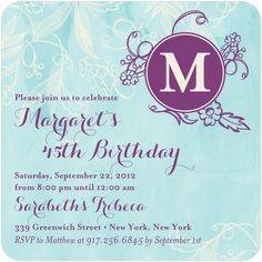 Adult Birthday Party Invitations Lettered Garden