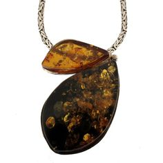 Gold Green Amber Pendant Sterling Silver .925 Necklace Jewelry