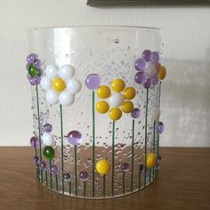 Floral Glass Curved Plaque, Candle Display with flowers, Fused Glass, Kilnformed Glass, Home Decor, Gift for her, Gift for them by WarmGlassFusion on Etsy