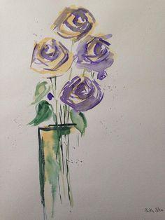 ORIGINAL AQUARELL Aquarellmalerei Bild Kunst Blumen lila