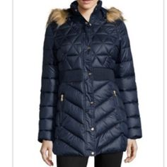 ⭐️Jessica Simpson Blue Down Coat XS New Jessica Simpson Blue down coat. Size XS. Puffer jacket Stand-up collar with inner rib knit Removable hood with faux fur trim Front zipper and snap button closure Banded waist Zipper pockets Allover quilted design Lined Material: 100% Polyester, Lining: 100% Polyester, Fill: 100% Polyester, Knit: 100% Polyester, Faux Fur: 56% Modacrylic 44% Acrylic Jessica Simpson Jackets & Coats Puffers