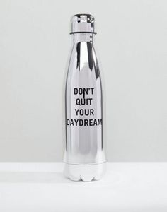 b74dd25729 ALDO Don't Quit Your Daydream Stainless Steel Silver Water Bottle
